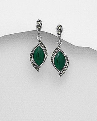 bijuterii din argint cu agat verde
