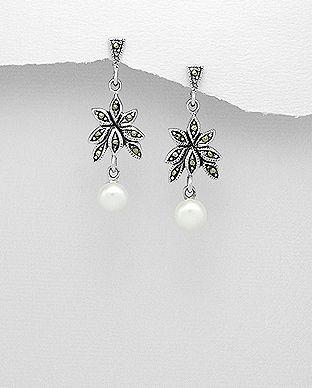 cercei lungi argint marcasite perle
