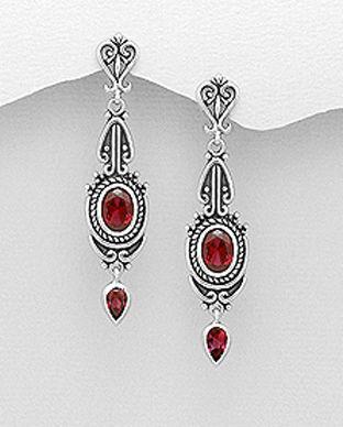 cercei argint pietre rosii
