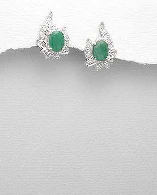 bijuterii smarald cercei argint