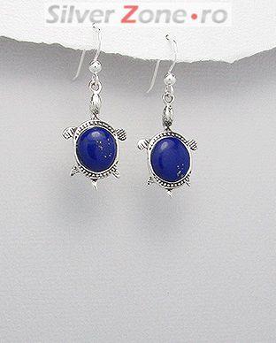 bijuterii din argint broscuta testoasa piatra semipretioasa albastru lapis lazuli