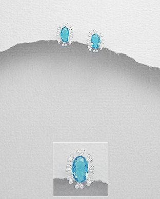 cercei argint mici cu pietre albastre
