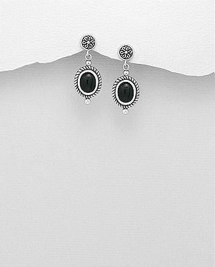 cercei pietre negre argint