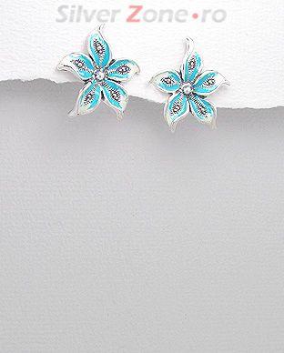cercei floare de colt argint albastru