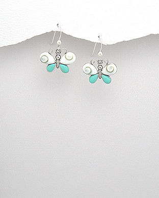 Bijuterii din argint cu scoica shiva: cercei argint fluture scoica shiva