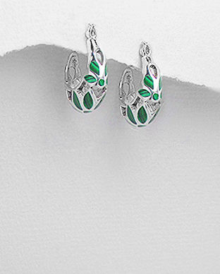 cercei piatra verde argint