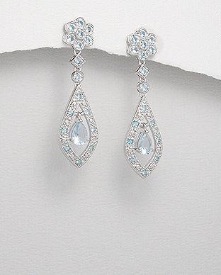 Cercei din argint si cubic zirconia bleu