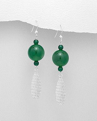 bijuterii argint onix verde cercei lungi