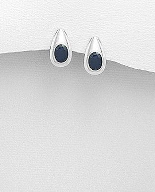 Cercei cu piatra pretioasa safir albastru din argint