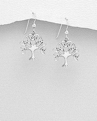 cercei din argint copac