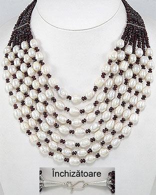 colier granate si perle naturale