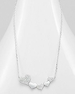 colier inimioare din argint