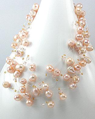 bijuterii cu perle naturale piersic