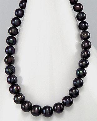 colier cu perle negre naturale