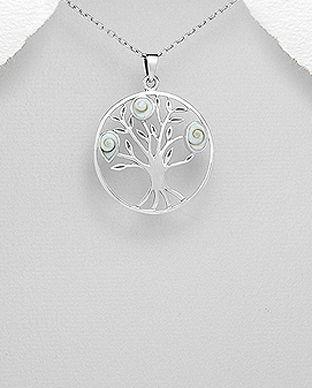 Bijuterii din argint cu scoica shiva: pandantiv argint copac scoica shiva