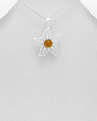 bijuterii floare argint chihlimbar