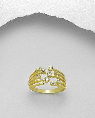 inel din argint placat cu aur aur ajustabil