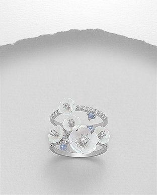 inel flori sidef argint