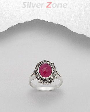 Inel din argint cu marcasite si rubin