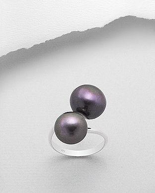 inel din argint cu perle negre