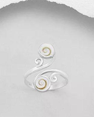Bijuterii din argint cu scoica shiva: inel argint floare scoica shiva