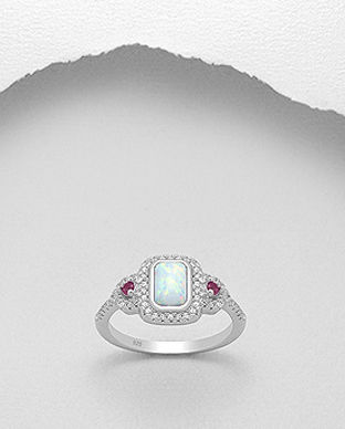inel clasic argint opal alb