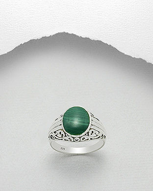 Inel din argint cu malachit verde