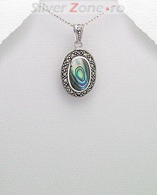 bijuterii argint: pandantiv abalone verde