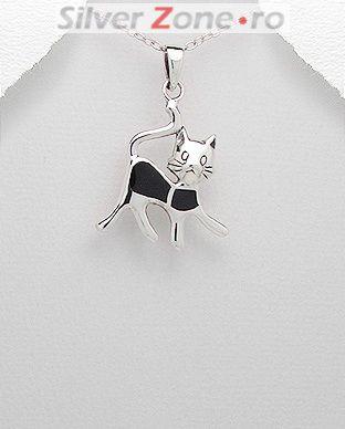 bijuterii din argint pisica neagra