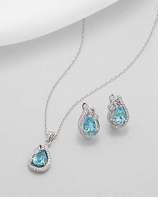 bijuterii argint pietre albastre
