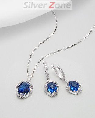 set din argint cu piatra albastra