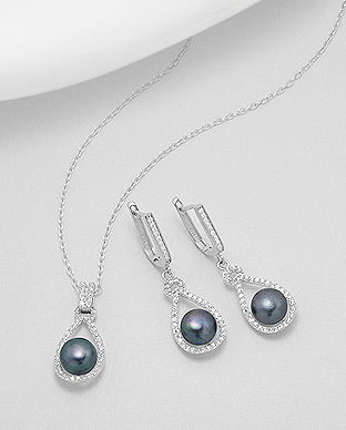 set din argint cu perla negra