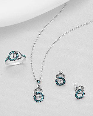 bijuterii la set din argint turcoaze