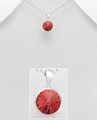 Pandantiv cu cristal rotund Swarovski rosu din argint